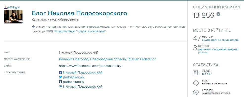 philologist Блог Николая Подосокорского